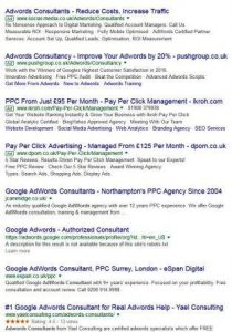 First page adwords results